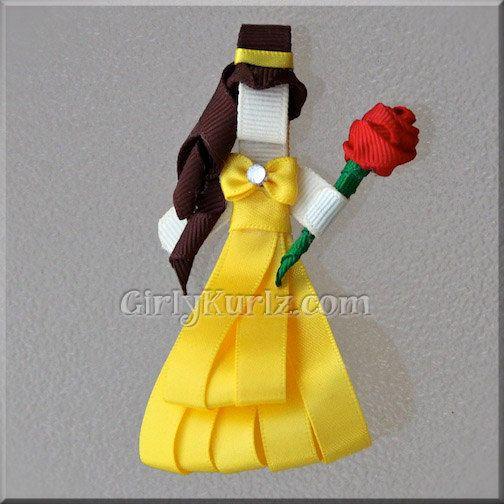 Beauty & the Beast Belle Ribbon Sculpture Hair Clip by GirlyKurlz, $7.97