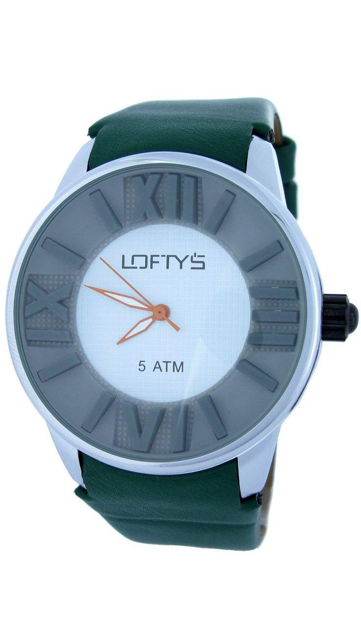XL Watch with Green Leather Strap Y 3402GR - https://www.loftyswatches.com/shop/xl-watch-green-leather-strap-y-3402gr/
