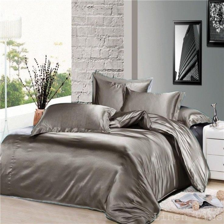 7 piece gray silky satin duvet cover sheet zipper closure. Black Bedroom Furniture Sets. Home Design Ideas