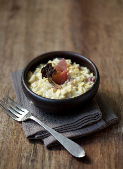 Risotto de crozets aux chanterelles et jambon sec | Alpina Savoie