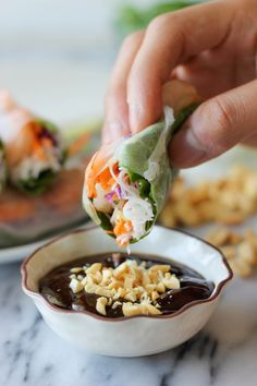 Shrimp Spring Rolls with Hoisin Peanut Dip - No need to overpay for springs roll anymore! The homemade version is so easy and much tastier!