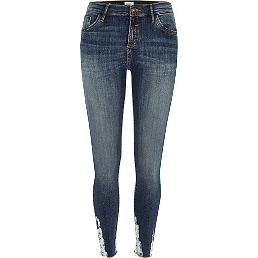 Dark wash ripped hem Amelie superskinny jeans £42 #RIdenim