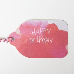 Rachel Kennedy Designs - happy birthday gift tag - Water Colour Tags