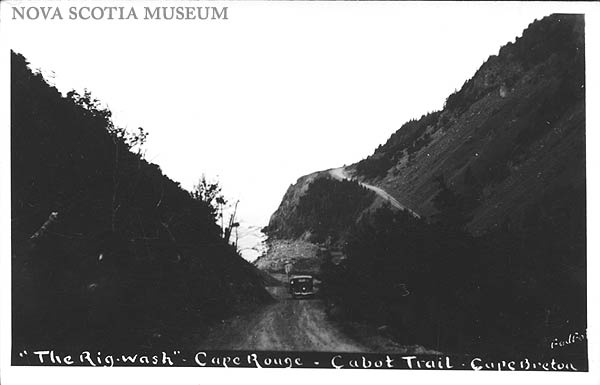 From the Nova Scotia Museum. Vintage postcard of Cabot Trail. #CapeBreton