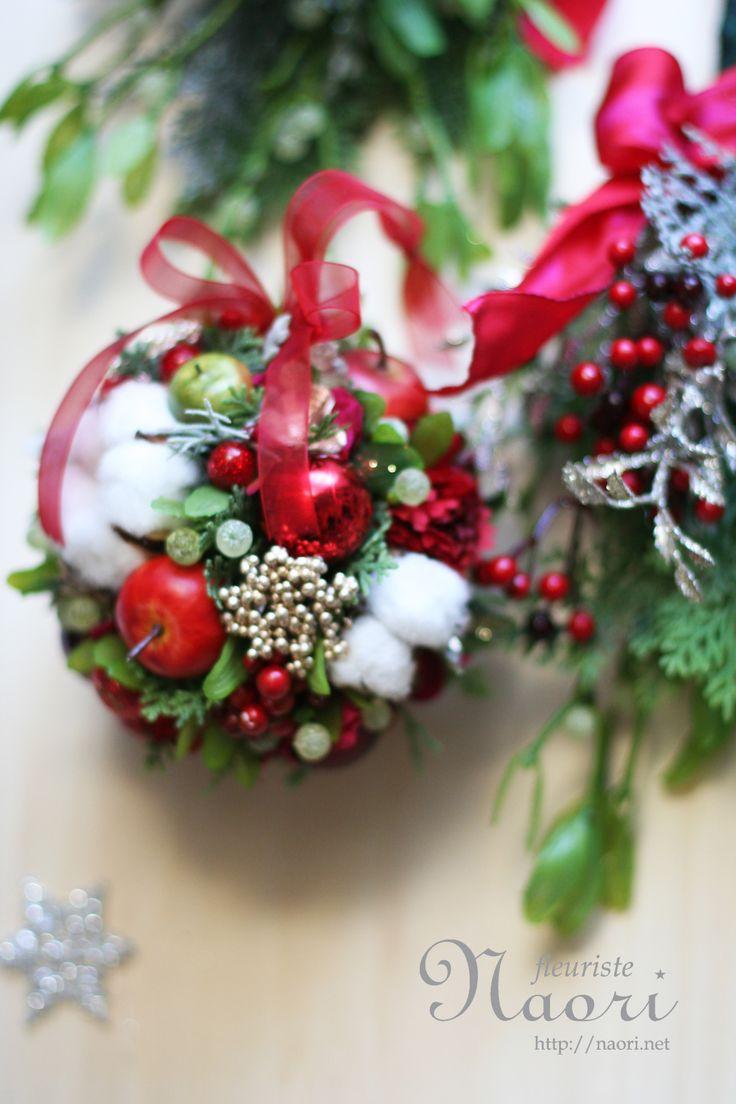 Christmas wreath 2013 クリスマスリース mistletoe kissing ball ヤドリギのボールリース