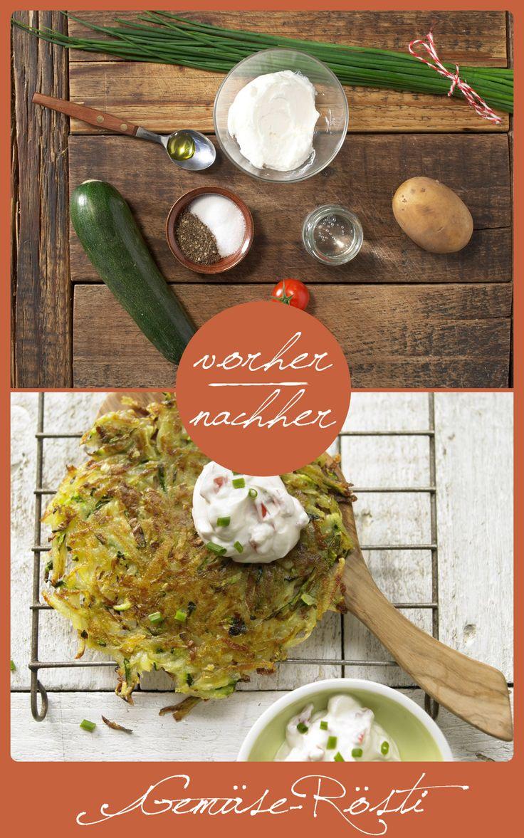 http://eatsmarter.de/rezepte/gemuese-roesti Gemüserösti sind super lecker, gesund und schnell gemacht. Die perfekte Beilage oder auch als Hauptgericht.