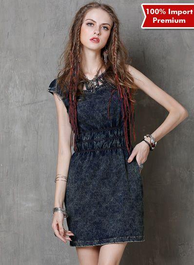 Dress Denim Import Premium 600PR  | shopasista.com | Distributor baju import | distributor baju korea | grosir baju korea | grosir baju import | supplier baju korea tangan pertama | importir baju korea