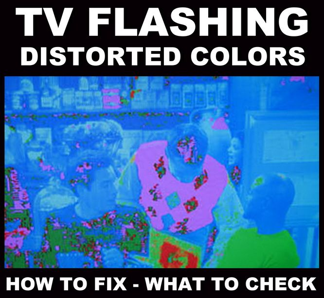 TV Displaying Different Distorted Flashing Colors