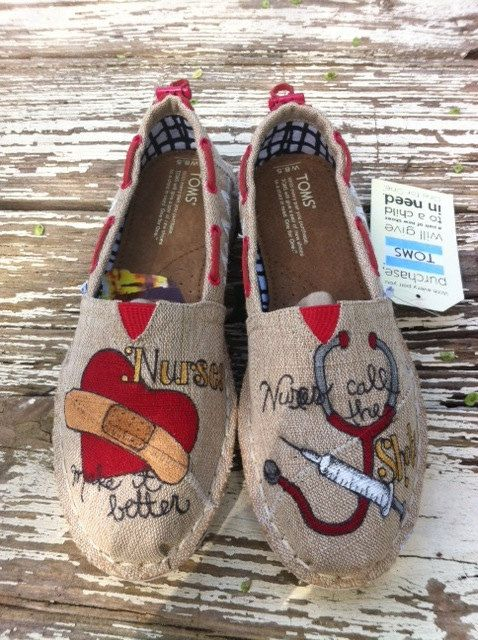 Custom hand painted TOMS Nurses Make it Better by solereflections, $60.00