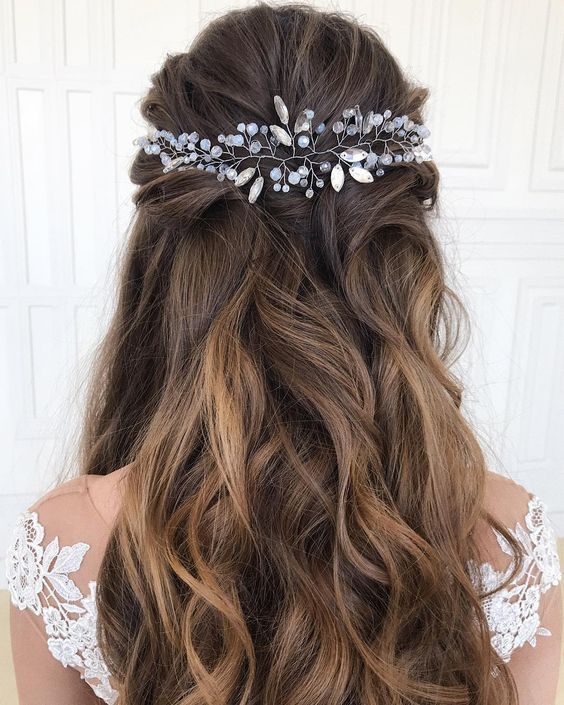 28 Captivating Half Up Half Down Wedding Hairstyles---wedding hairstyle with crystal headpieces, wedding hairstyle for long hair, diy bridal hairstyle...