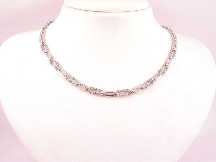 Necklace - Simple. 18 carat gold (kt), white gold,18.70 grams (gr).96 diamonds, brilliants cut0.77 carat (H colour VVs clarity).Size: 16.50 inches (Usa)   42.00 cm (Italy).Codex: MTLS.ss.
