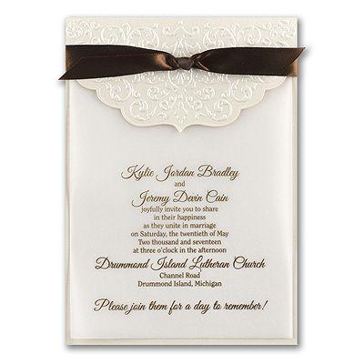 Ecru Whisper Ivory Wedding Invitation With Ribbon  Http://partyblockinvitations.occasions Sa