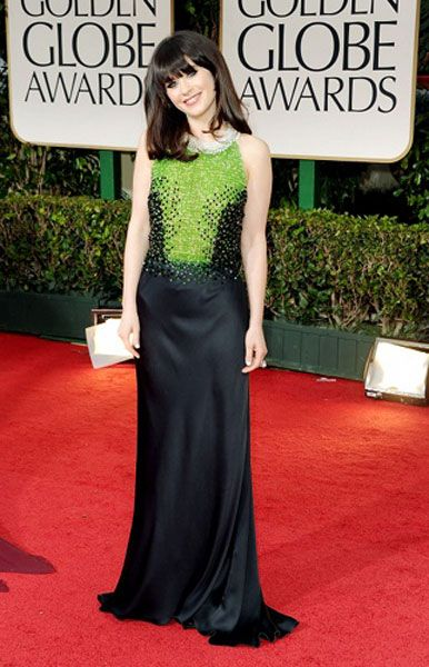 Zooey looks stunning in this shade of green and her hair has some glamourous volume for the Golden Globe Awards in 2012| Zooey Deschanel