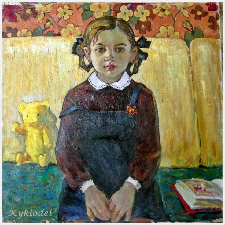 """Student"". Pegov Viktor Nikolaevich (1938-), Russian painter."