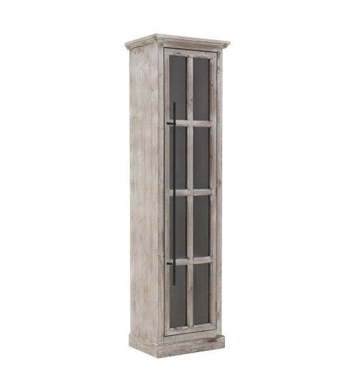 WOODEN VITRINE IN ANTIQUE BROWN COLOR 47X34X168