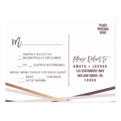 Purple Blush & Rose Gold Streamer Menu Choice RSVP Postcard - postcard post card postcards unique diy cyo customize personalize
