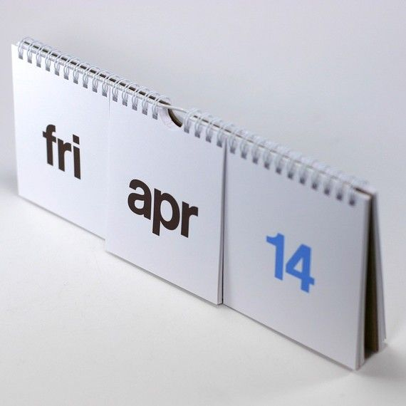 one calendar. brown and blue