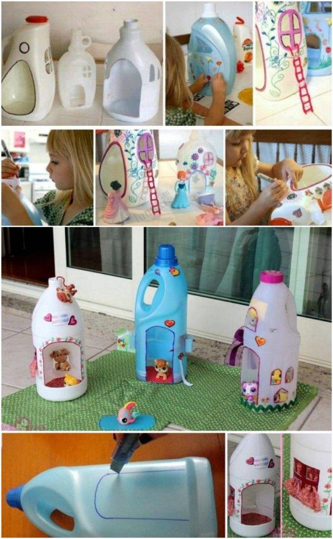 Casa de muñecas DIY linda de las botellas Upcycled de lavandería