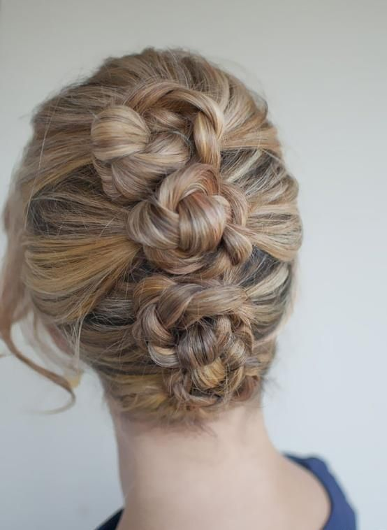 Looks difficult but this is a super easy hair do to do :) Pull three pony tails in top, middle, and bottom ...braid each pony tail then spin the braid around the band and secure with bobby pins