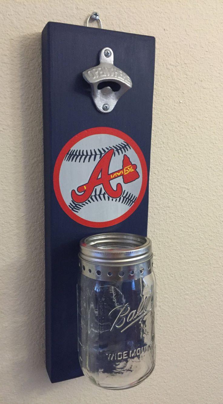 ATLANTA BRAVES Bottle Opener with Mason Jar Rustic Baseball BRAVES Atlanta - pinned by pin4etsy.com