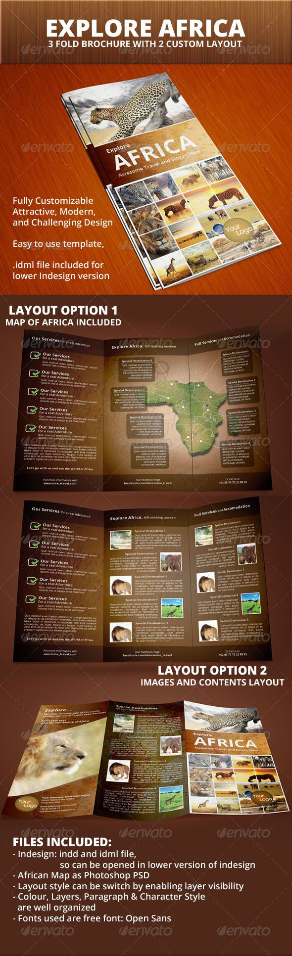 Explore Africa Trifold Brochure 30 best Template