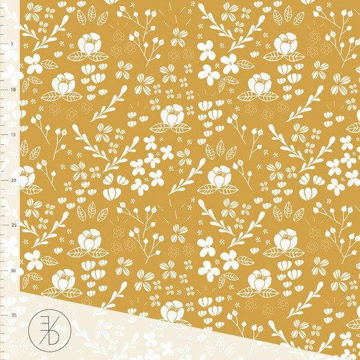 Gold floral cotton Lycra fabric, mustard yellow floral knit fabric, floral fabric, gold jersey knit, fabric for babies, cotton Lycra fabric