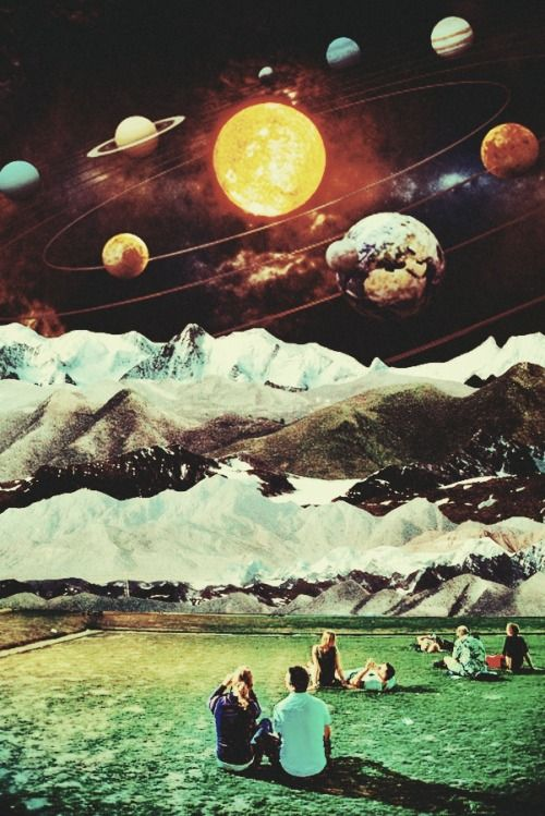 Outer Landscape.  Surreal Mixed Media Collage Art By Ayham Jabr.