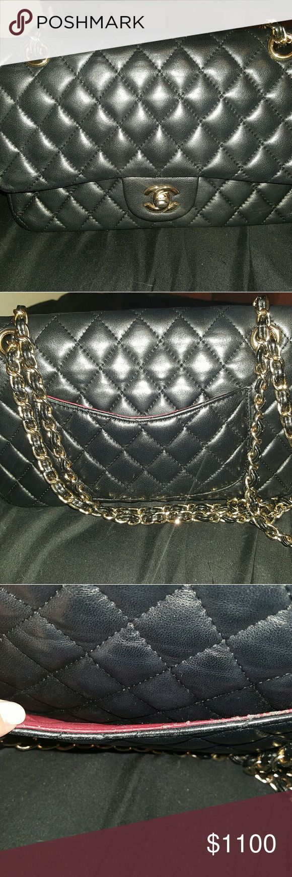 Chanel classic double flap bag black gold hardware