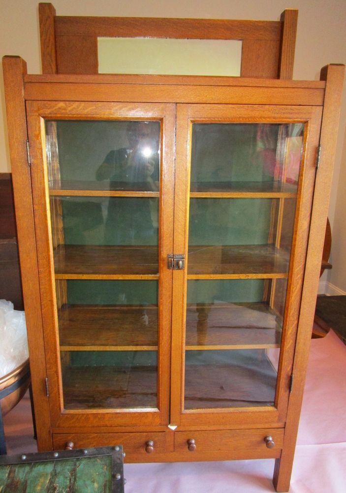 Beautiful Arts & Crafts Glass Door Oak Bookcase / Display Cabinet.  #ArtsCrafts - 63 Best Antique Furniture Images On Pinterest Antique Furniture