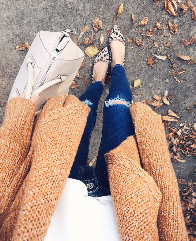 leopard flats + coziest cardigan of all time
