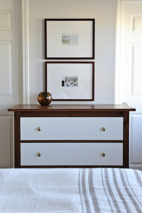 awesome ikea hack on hemnes 3-drawer chest. Love the look of dark dresser with light colored drawers and new knobs