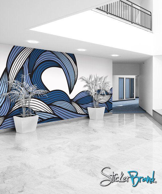 water stylization - mural research - Wall Mural Decal Sticker Bristle Ocean Wave.