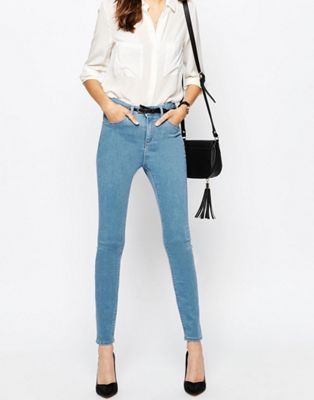 ASOS RIDLEY Skinny Ankle Grazer Jeans In Honey Light Stonewash
