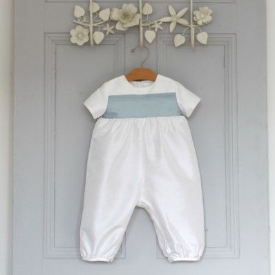 Adore Baby | Stunning little silk romper for Baby Boys Christening or Baptism