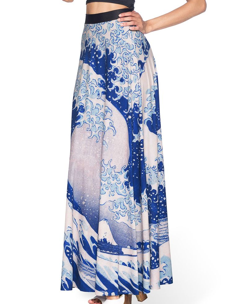 The Great Wave Maxi Skirt (AU $120AUD) by Black Milk Clothing
