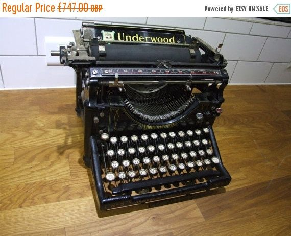 SALE 15% OFF Working Underwood Typewriter , Antique Black Underwood Typewriter by VintageRetroOddities on Etsy