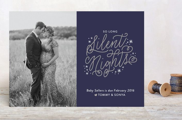 Christmas card pregnancy announcement: so long silent nights by Sarah Brown for Minted