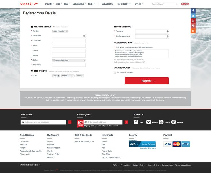 Speedo Signup Page