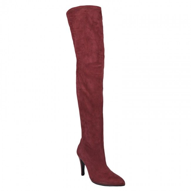 http://www.bigshoes.gr/womens-shoes/boots/mx-2506.html  Women's rubber boots suede over the knee in burgundy color. With side zipper for what easy application, perfect for impressive performances. With leather lining and heel height 7cm. In large sizes of Big Shoes.