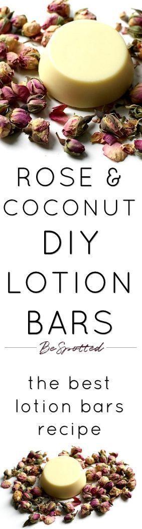 Lotion Bars Recipe – Rose & Coconut DIY Lotion Bars for Dry Skin – #amp # …  –  Hautpflege-Rezepte