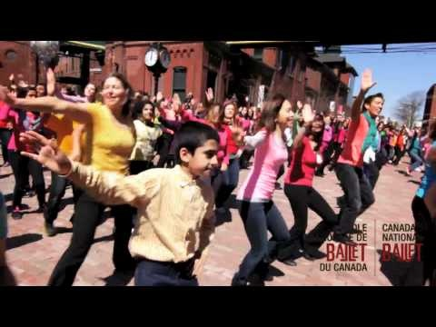 """Canada's National Ballet School's community members and partner Beaumonde Heights Junior Public School celebrate International Dance Day, April 29, 2012 at Toronto's historic Distillery District. Choreographed in the Bollywood style by Lopa Sarkar and set to The Bilz & Kashif's """"Turn The Music Up""""."""