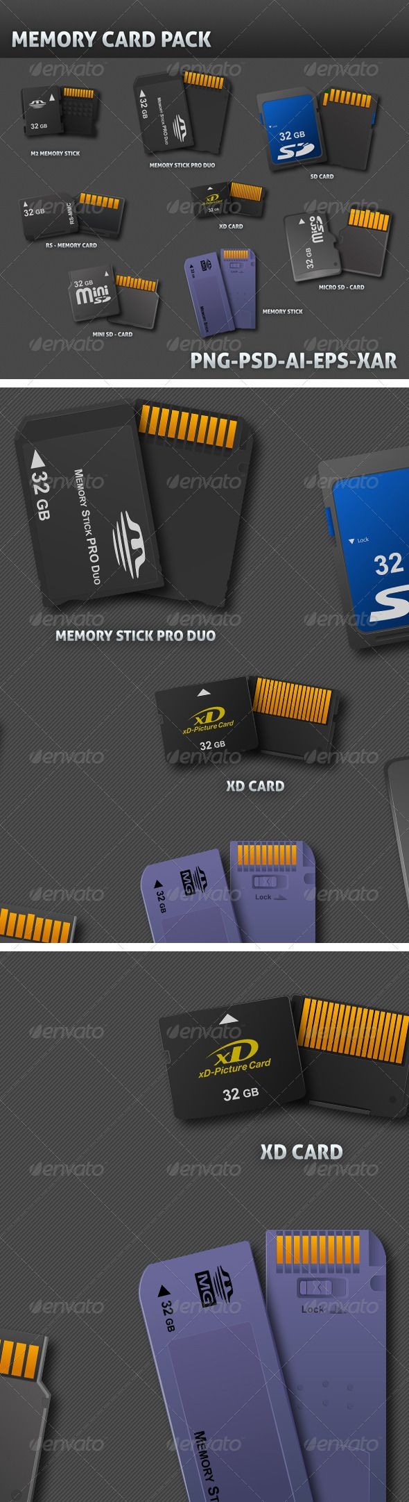 8 Realistic Memory Card 3D Vector #GraphicRiver 8 Realistic 3d Vector of memory card 1. MEMORY STICK 2. MEMORY STICK PRO DUO 3. M2 MEMORY 4. SD CARD 5. RS MEMORY 6. XD CARD 7. MINI SD 8. MICRO SD Available in PSD ,AI,EPS,PNG and xar (xara extreme pro 7 format) Created: 13July12 GraphicsFilesIncluded: PhotoshopPSD #TransparentPNG #VectorEPS #AIIllustrator Layered: Yes MinimumAdobeCSVersion: CS Tags: M2MEMORY #MEMORYSTICKPRODUO #MICROSD #MINISD #RSMEMORY #XDCARD #memorystick #sdcard