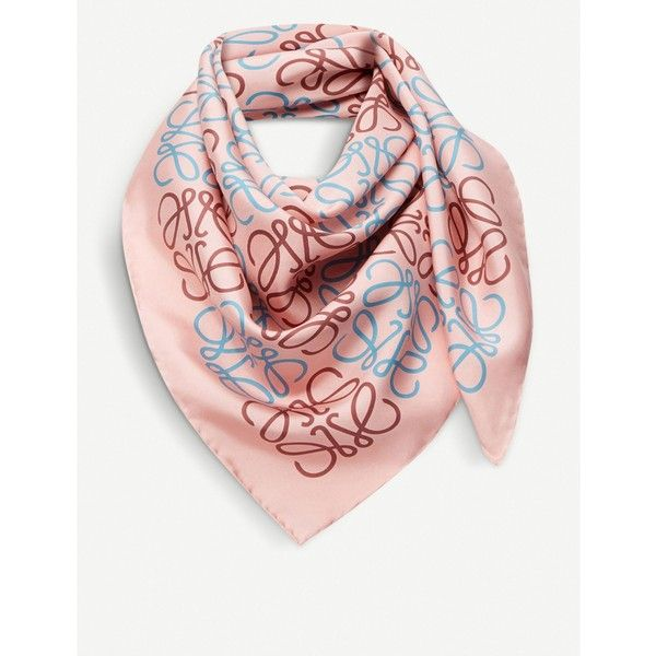 LOEWE Anagram silk scarf ($410) ❤ liked on Polyvore featuring accessories, scarves, pure silk scarves, silk shawl, silk scarves and loewe