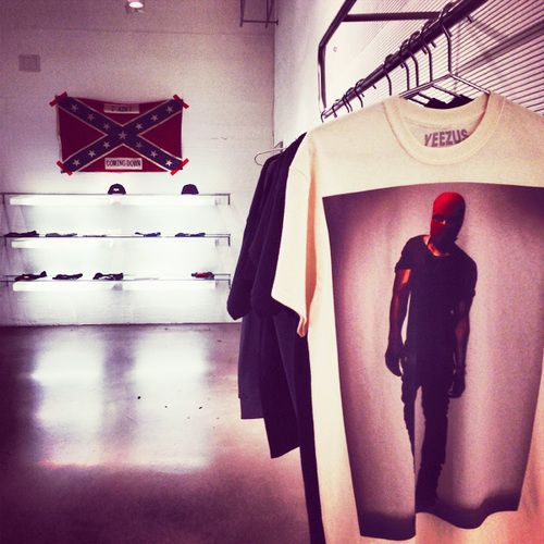 Kanye West opened a pop up shop in LA (right next to dash) for merchandise from his Yeezus tour.   The collaboration with Pac Sun can be purchased at the pop up, Pacsun.com and  at his concerts. Great way for tour merchandise to be available for more people than just those attending the actual concert.