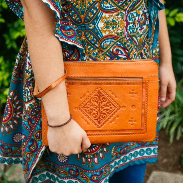 Moroccan Leather Orange Clutch from Trouvaille Boutique