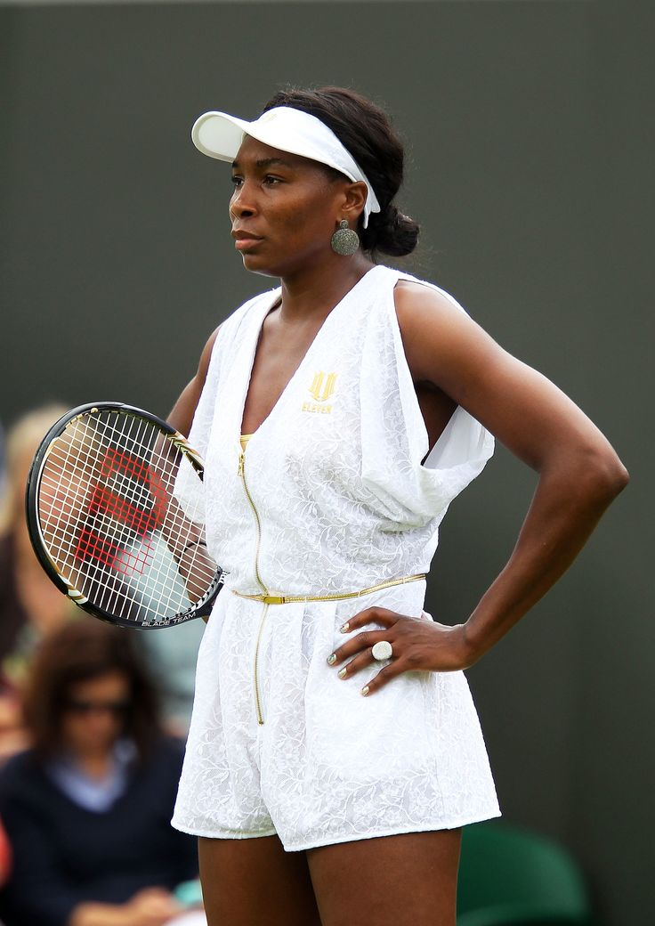 Redeeming herself in 2011 at the Wimbledon Open, Venus wore a classy white and gold flecked romper with a g...