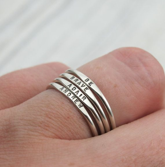 Tiny Stacking Posey Ring - custom made and personalized ring with your word choice in sterling silver by Kathryn Riechert (Tiny Text
