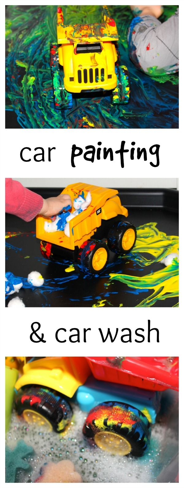 Messy little monster: Painting with toy cars- process art for toddlers and preschoolers