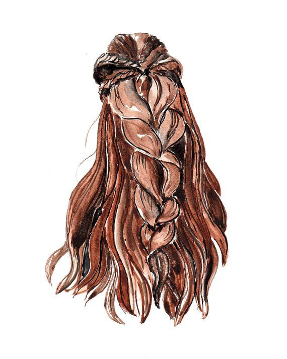 Brown Long Hair Braid Art Print Watercolor Ilustration 8x10 Cool