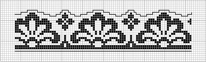 Border 45 | Free chart for cross-stitch, filet crochet | Chart for pattern - Gráfico / towel / monochrome